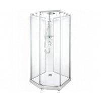Купити Фінську душову кабіну Ido Showerama 10-5 558.113.00.1 Comfort 558113001 п'ятикутна 90 * 90см білий, прозоре скло / матове скло
