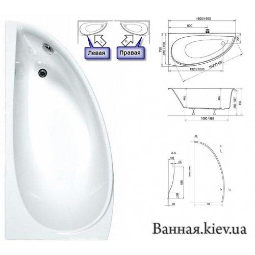 Купити AVOCADO Ravak L 150x70 Авокадо для ванни CT01000000 в Києві vannaja.kiev.ua