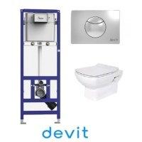 DEVIT 90.210 + 3120123 Comfort Набор с Инсталляцией + унитаз + крышка SoftClose тонкая